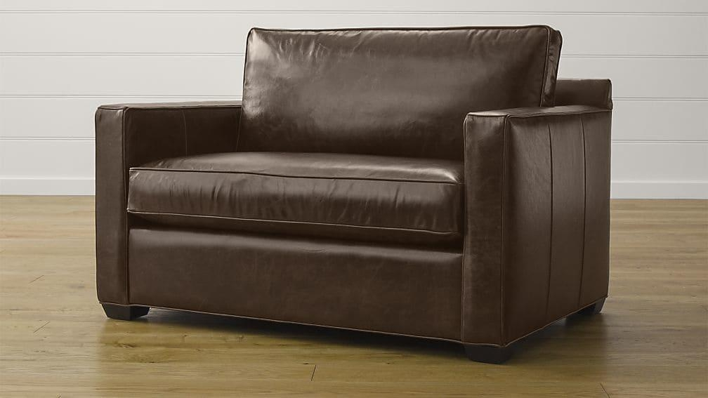 Davis Leather Twin Sleeper Sofa | Crate And Barrel Regarding Crate And Barrel Sofa Sleepers (Image 6 of 20)