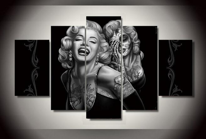 Day Of The Dead Face Canvas Wall Art Painting For Home Decoration With Marilyn Monroe Black And White Wall Art (Image 10 of 20)
