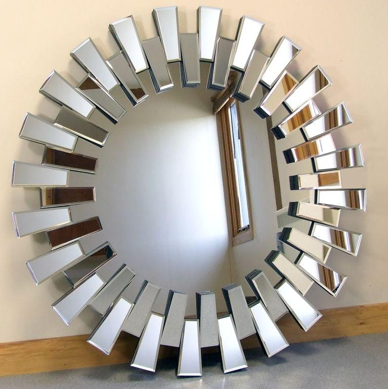 Decorations : Captivating Art Deco Venetian Round Wall Mirror With Intended For Mirror Circles Wall Art (Image 8 of 20)