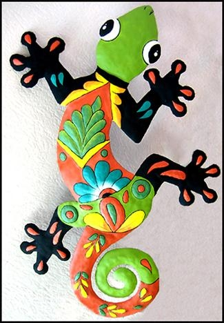 Decorative Gecko Wall Decor – Haitian Hand Painted Metal Tropical Regarding Mexican Metal Wall Art (View 5 of 20)