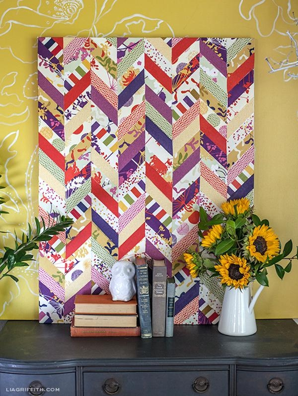 Decoupage Chevron Fabric Art – Mod Podge Rocks Regarding Decoupage Wall Art (Image 7 of 20)