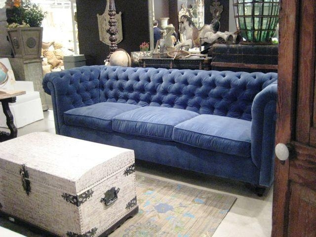Deep Blue Velvet Tufted Sofa | Velvet Tufted Sofa, Tufted Sofa And Pertaining To Blue Velvet Tufted Sofas (Image 13 of 20)