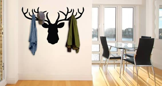 Deer Coat Rack Wall Decal | Dezign With A Z Inside Wall Art Coat Hooks (Image 12 of 20)
