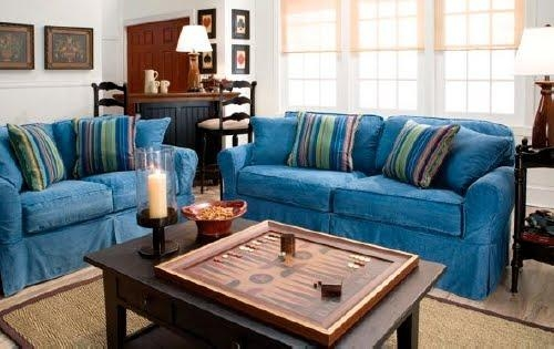 Denim Sofa Slipcovers – Sofa A With Denim Sofa Slipcovers (Image 8 of 20)