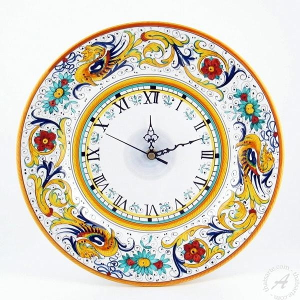 Deruta Pottery Wall Clock Handmadefima | Thatsarte With Regard To Italian Ceramic Wall Clock Decors (View 2 of 22)