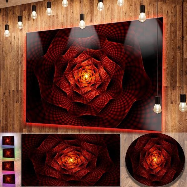 Designart 'fractal Red Flower Of Passion' Flower Metal Wall Art Pertaining To Red Flower Metal Wall Art (Image 8 of 20)