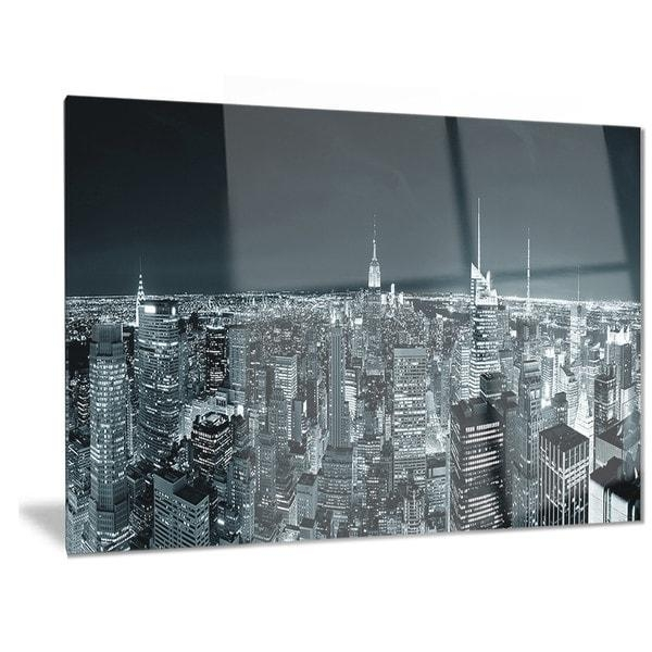 Designart 'new York City Skyline At Night' Cityscape Photo Metal Within New York City Wall Art (Image 3 of 20)