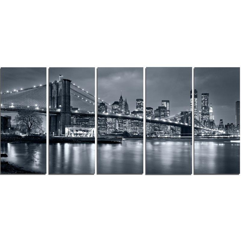Designart Panorama New York City At Night 5 Piece Wall Art On Regarding New York City Wall Art (Image 4 of 20)