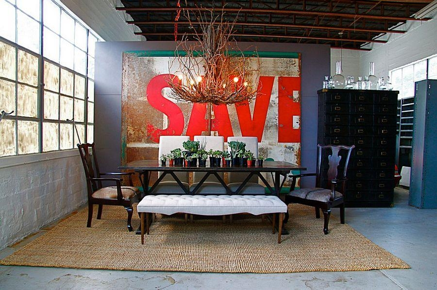 Designs Ideas : Vintage Dining Room With Black Dining Table Under With Large Retro Wall Art (Image 11 of 20)