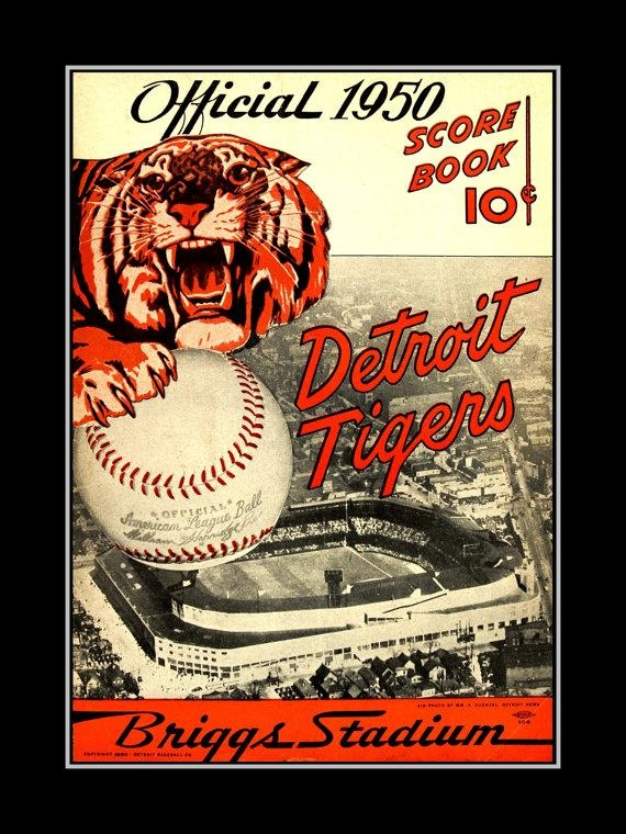 Detroit Tigers Baseball Poster Vintage 1950 Mototr City Wall Inside Vintage Baseball Wall Art (Image 13 of 20)