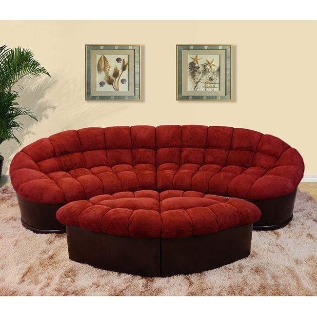 Diana 4 Piece Burgundy Modern Microfiber Sofa And Ottoman Set Regarding Burgundy Sectional Sofas (Image 9 of 20)