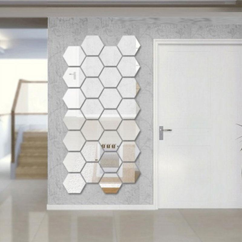 Dimensional Hexagonal 7 Piece Wall Decoration Acrylic Mirrored In Diy Mirror Wall Art (Image 11 of 20)