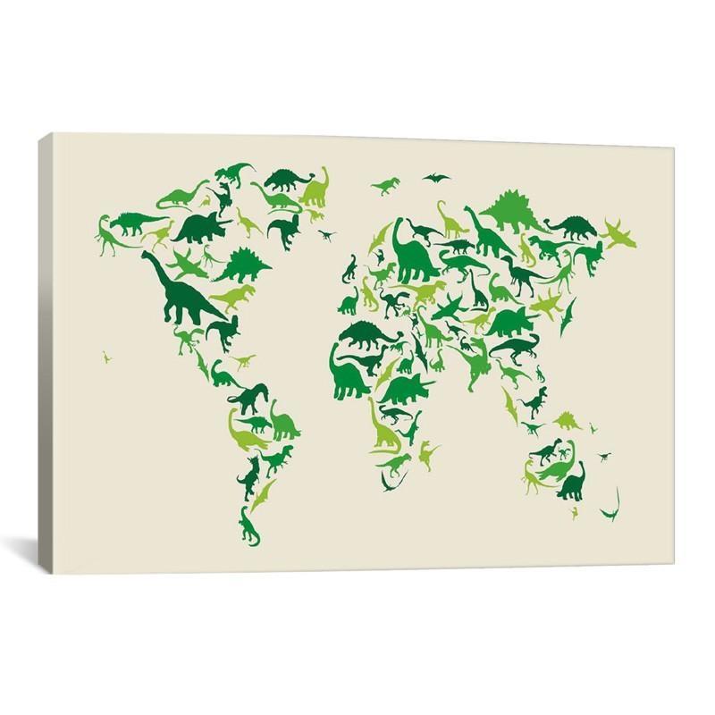 Dinosaur Map Of The World Canvas Wall Art – Rosenberryrooms Within Dinosaur Canvas Wall Art (View 2 of 20)