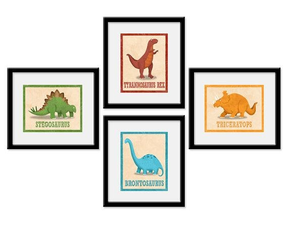 Dinosaur Nursery Art Dinosaur Room Decor Dinosaur Art With Dinosaur Wall Art For Kids (View 11 of 20)