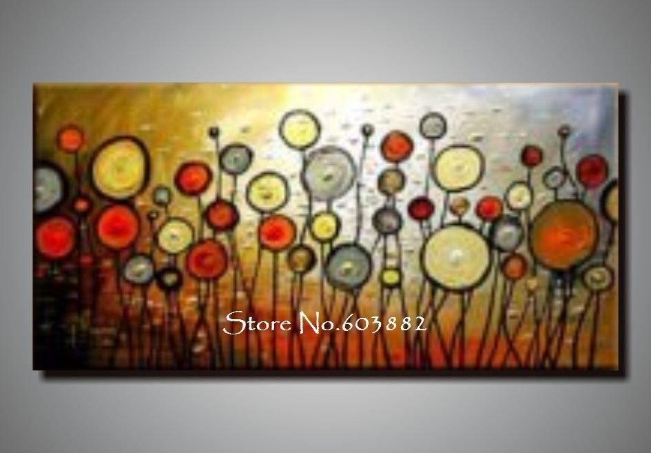 Discount 100% Handmade Large Canvas Wall Art Abstract Painting On Pertaining To Large Canvas Wall Art Sets (View 7 of 20)