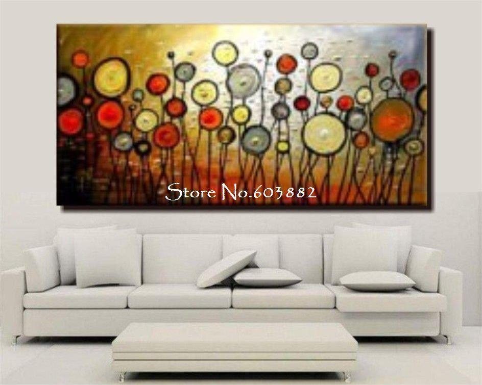Discount 100% Handmade Large Canvas Wall Art Abstract Painting On With Huge Wall Art Canvas (View 2 of 20)