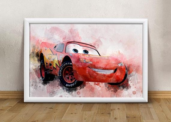 Disney Cars Printable Art Cars Lightning Mcqueen Wall Art Boys Throughout Lightning Mcqueen Wall Art (Image 11 of 20)