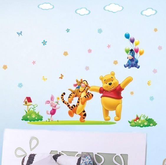 Disney Happy Winnie The Pooh Nursery Wall Sticker Regarding Winnie The Pooh Wall Art For Nursery (Image 13 of 20)
