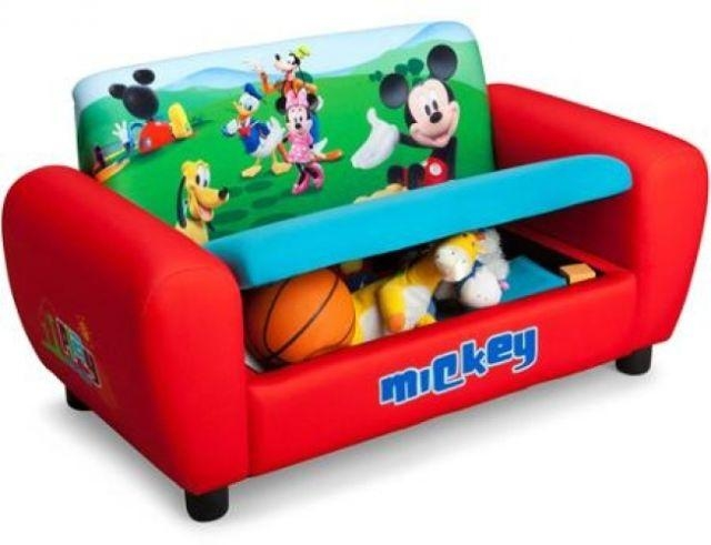 Disney Mickey Mouse Toddler Sofa Storage Upholstered Kids Couch Throughout Mickey Fold Out Couches (Image 8 of 20)