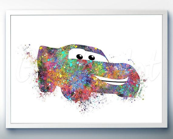 Disney Pixar Cars Lightning Mcqueen Watercolor Poster Print For Lightning Mcqueen Wall Art (Image 14 of 20)