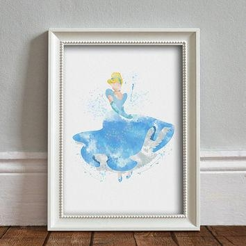 Disney Princess Cinderella Have Courage From Brightpaper On Etsy With Disney Princess Framed Wall Art (Image 13 of 20)