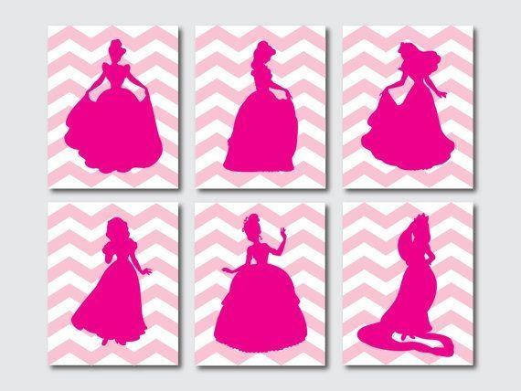 Disney Princess Silhouettes | Annabelle's Board | Pinterest Throughout Disney Princess Wall Art (Image 11 of 20)