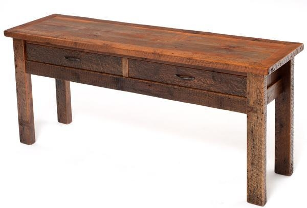 Distressed Barnwood Sofa Table, Aged Barn Wood Sofa Table, Inside Barnwood Sofa Tables (View 6 of 20)