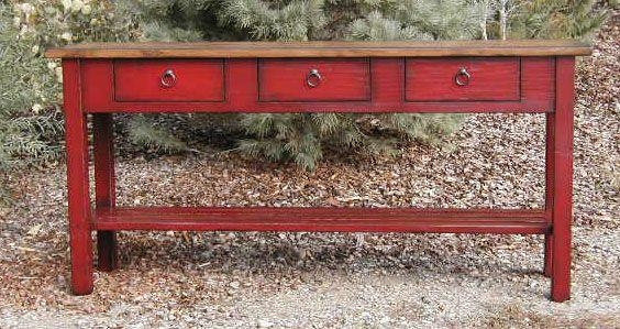 Distressed Red Console Table Distressed Mirrored Console Table With Regard To Red Sofa Tables (Image 5 of 20)