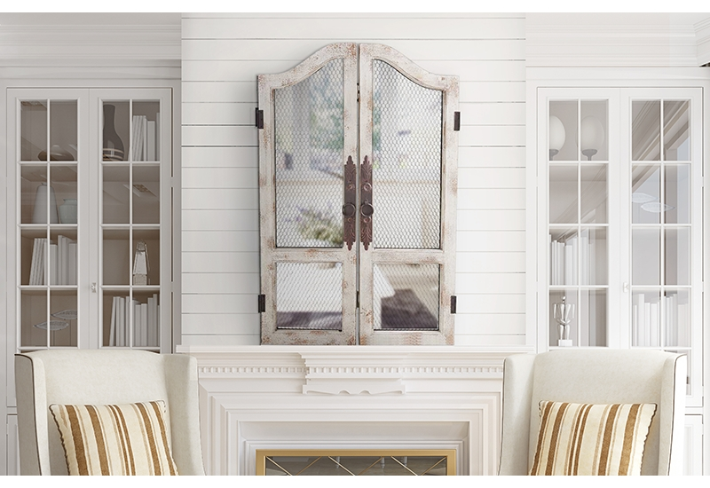 Distressed, Rustic, White, Wood, Wooden, Chicken Wire, Wall Art Inside White Wooden Wall Art (Image 6 of 20)