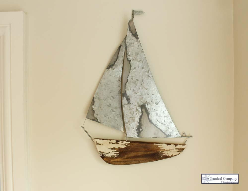Distressed Sailing Boat Model Wall Art Nautical Decor – The Pertaining To Metal Sailboat Wall Art (Image 5 of 20)