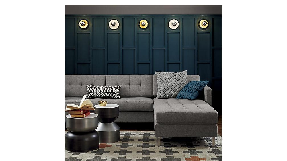 Ditto Ii Button Tufted Sectional Sofa | Cb2 Pertaining To Short Sectional Sofas (View 6 of 20)