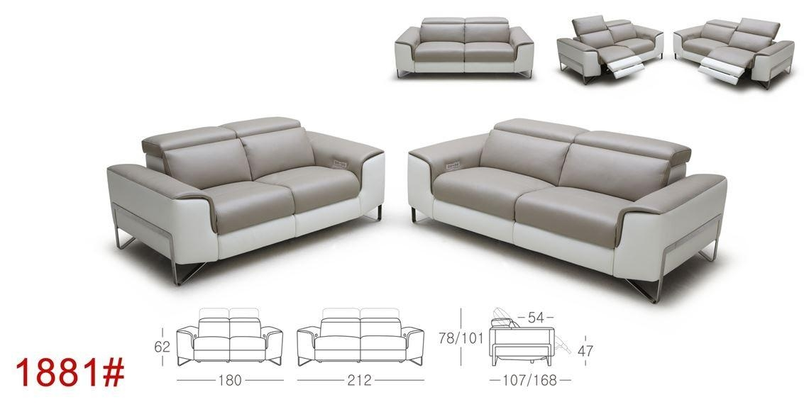Divani Casa Begonia Modern Taupe Italian Leather Reclining Sofa Set Inside Italian Recliner Sofas (View 8 of 20)