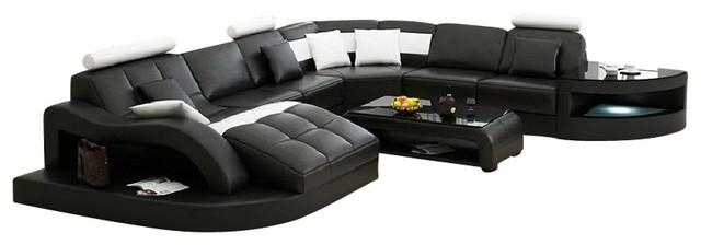 Divani Casa Emily Modern Sectional Sofa, Black And White Bonded For Black Modern Sectional Sofas (Image 11 of 20)