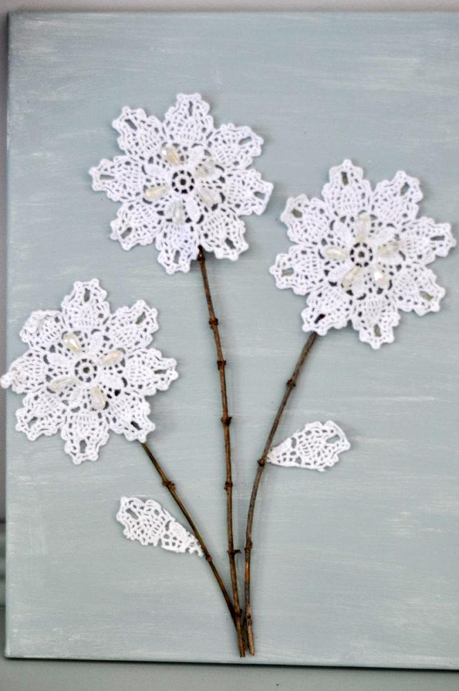 Diy Canvas Wall Art: Shabby Chic Flowers – Crafts Unleashed Throughout Shabby Chic Canvas Wall Art (Image 13 of 20)
