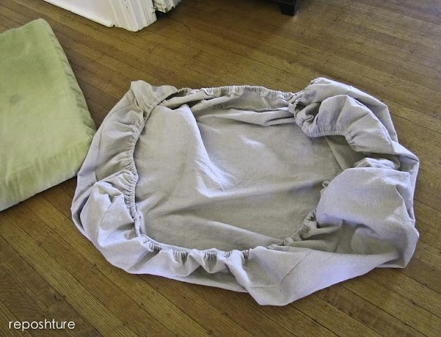 "Diy Couch Cushion ""slipcover"", Crib Sheet Style (Image 6 of 20)"
