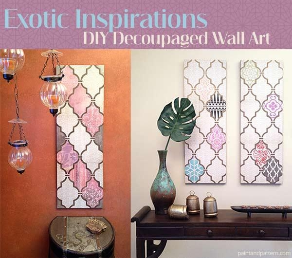 Diy Decoupage Wall Art Using Scrapbook Paper And Stencils With Regard To Decoupage Wall Art (Image 11 of 20)