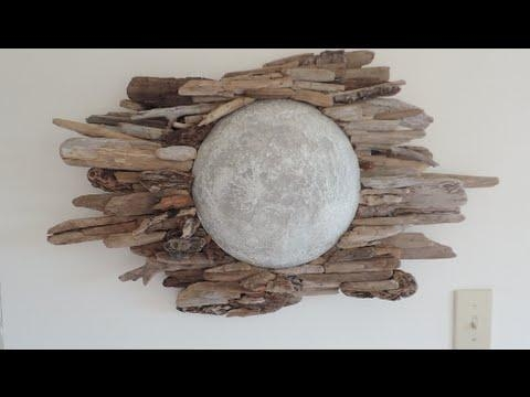 Diy | Driftwood Moon Wall Art – Youtube For Driftwood Wall Art (Image 7 of 20)