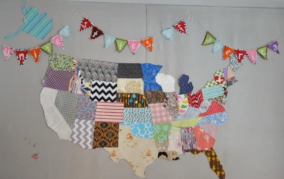 Diy: Map Of The Us Fabric Puzzle Playmat Intended For United States Map Wall Art (Image 8 of 20)