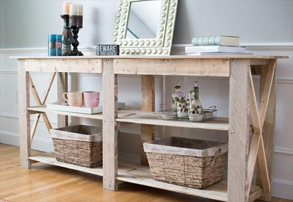 Diy Shabby Chic Pallet Buffet And Sofa Table | 101 Pallets Within Shabby Chic Sofa Tables (View 6 of 20)