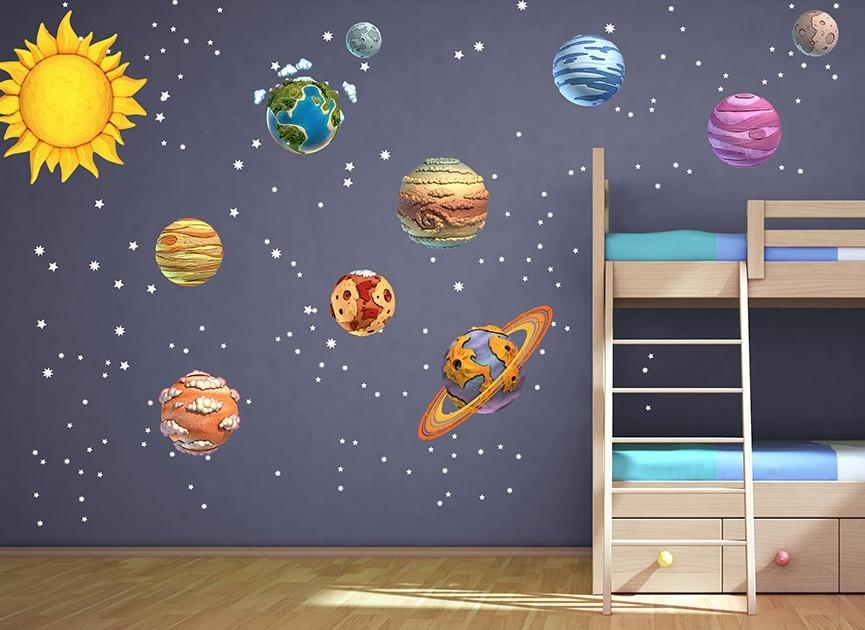 Diy Solar System Wall Decals Throughout Solar System Wall Art (Image 14 of 20)