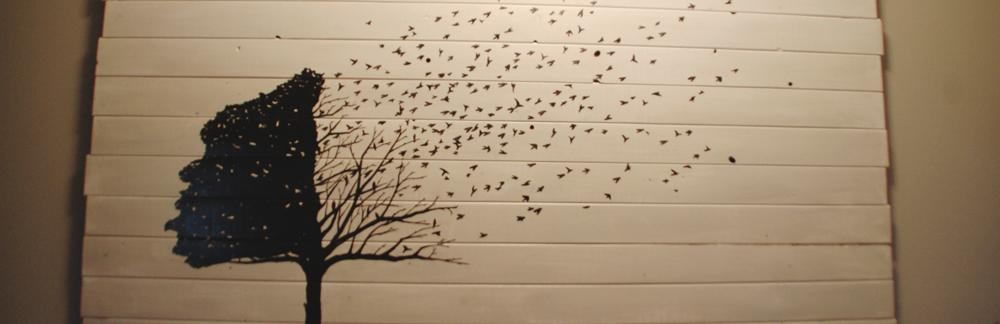 Diy Wall Art: Fly Away Home – Diydiva Within Painted Trees Wall Art (View 17 of 20)