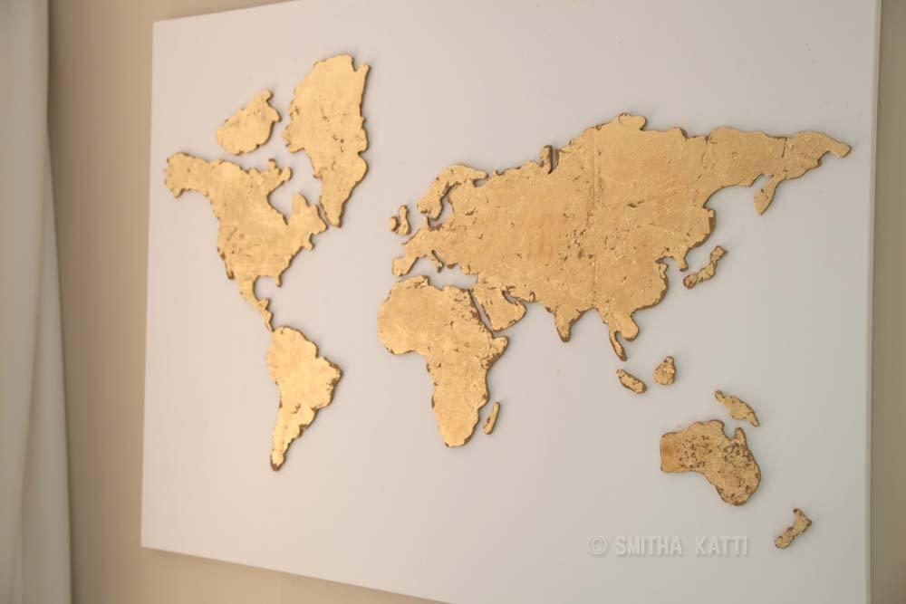 Diy World Map Wall Art; A Stepstep Tutorial – Smitha Katti With Regard To Map Wall Art (Image 11 of 20)