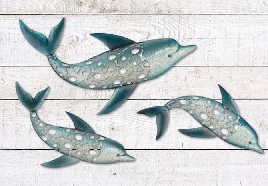Dolphin Fish Wall Art Metal Coastal Nautical Beach Indoor Outdoor Inside Seaside Metal Wall Art (Image 11 of 20)