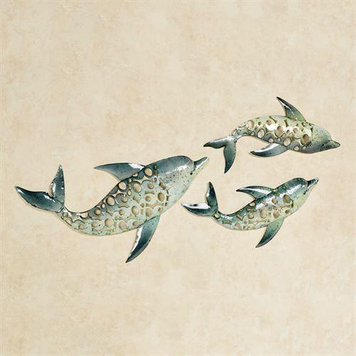Dolphin Trio Indoor Outdoor Metal Wall Art Set For Dolphin Metal Wall Art (Image 10 of 20)