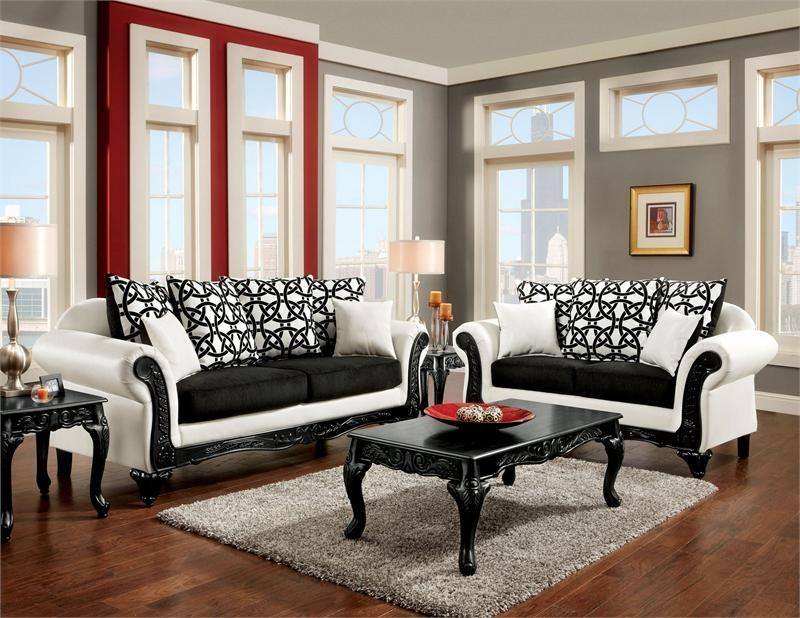 Dolphy White And Black Sm7600 Carved Wood Trim Rolled Arm Sofa And Within Black And White Sofas And Loveseats (Image 14 of 20)