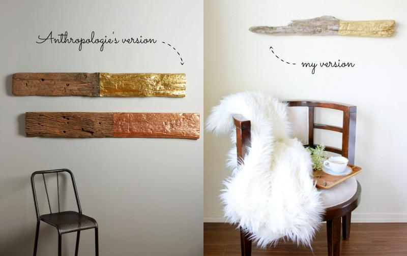 Domestic Bliss Squared: Diy: Anthropologie Hack Gilded Driftwood Regarding Driftwood Wall Art (Image 8 of 20)