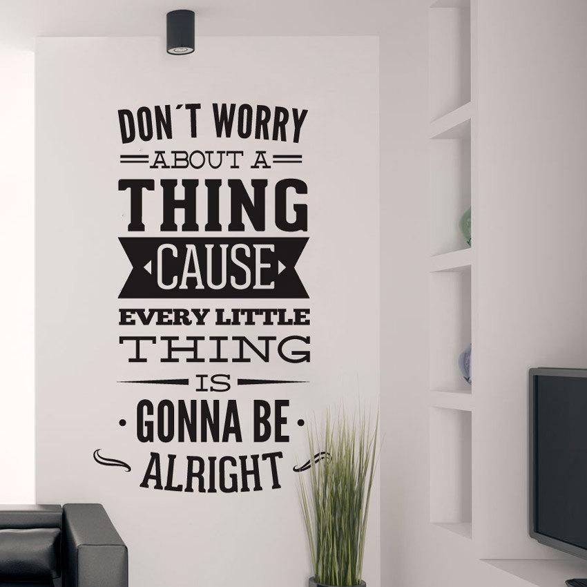 Dont Worry About A Thing Bob Marley Song Lyrics Quote Sticker With Bob Marley Wall Art (Image 18 of 20)