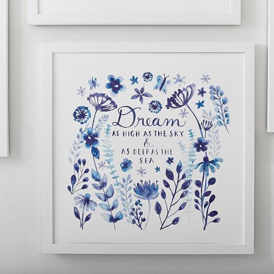 Dream Blue Wall Artminted® | Pbteen Regarding Blue And White Wall Art (View 16 of 20)