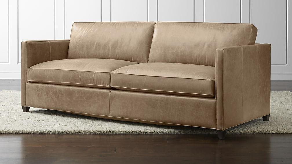 Dryden Leather Queen Sleeper Sofa | Crate And Barrel Throughout Crate And Barrel Sleeper Sofas (Image 5 of 20)