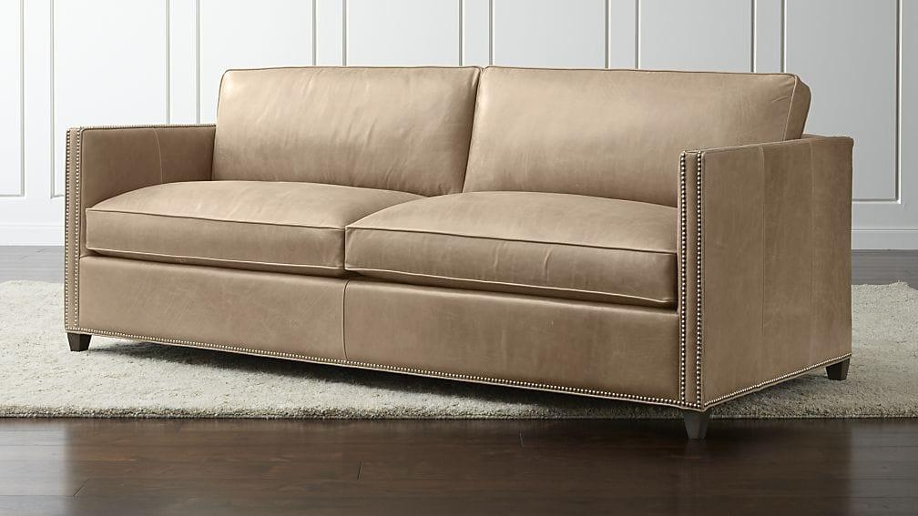 Dryden Leather Sofa With Nailheads | Crate And Barrel Within Beige Leather Couches (Image 11 of 20)